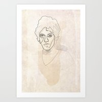 springsteen Art Prints featuring One line Bruce Springsteen by quibe
