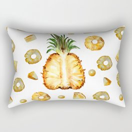 Cut pineapple into halfs - watercolor art Rectangular Pillow