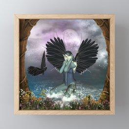 Wonderful fairy with fantasy birds Framed Mini Art Print