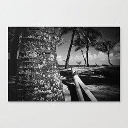 Kuau Beach Palm Trees and Hawaiian Outrigger Canoe Paia Maui Hawaii Canvas Print