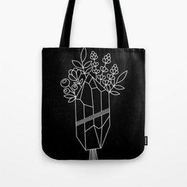 Crystal Flower Bouquet Black Tote Bag
