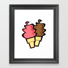 Chocolate and Strawberry Ice Cream Cones Framed Art Print
