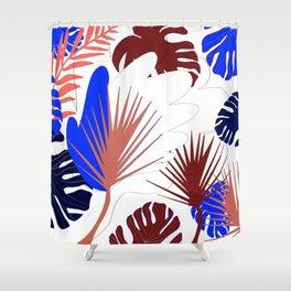 Naturshka 103 Palm Exotic flowers leaves vegetal nature Shower Curtain
