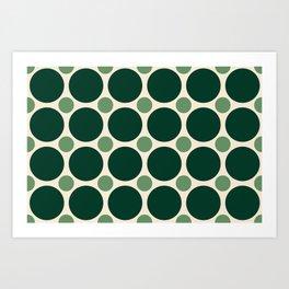 Big Dark Green and Small Light Green Circles Art Print