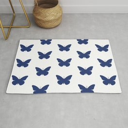 Navy Butterfly Pattern and Print Rug