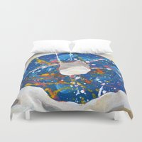doughnut Duvet Covers featuring Decorated Doughnut by Max Rowe Art