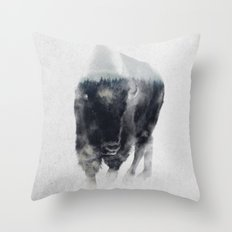 Bison In Mist Throw Pillow