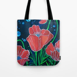 Stylized Red Poppies Tote Bag