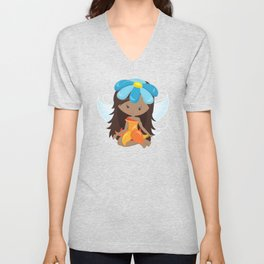 African American Fairy, Fairy With Blue Flower Unisex V-Neck