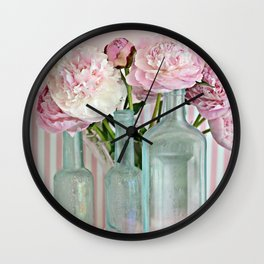 Peonies Shabby Chic Cottage Pink Aqua Peony Bottles Art Print Home Decor Wall Clock