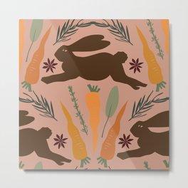 Folk Art Rabbit Garden in Blush + Chocolate Metal Print