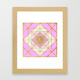 Gold Plated Preppy Pink Mandala Framed Art Print