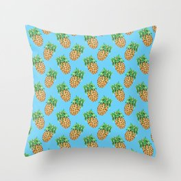 Watercolor Pineapples on Tropical Blue Throw Pillow