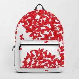 Heart - summer card design, red butterfly on white background Backpack