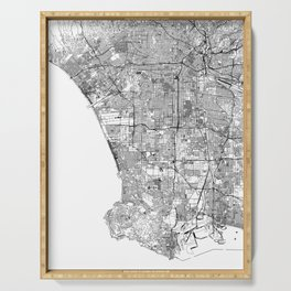 Los Angeles White Map Serving Tray