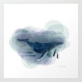 Alphabetical Animals – H for Humpback Whale Art Print