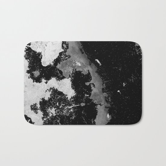 Lost In The Mystery - Abstract, black and white painting Bath Mat