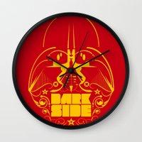 dark side Wall Clocks featuring Dark Side by francescoporoli
