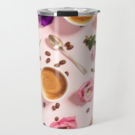 Morning coffee, croissants and a beautiful flowers Travel Mug