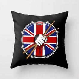Brit Fist Drummer Throw Pillow