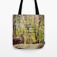 jane eyre Tote Bags featuring I Am No Bird Jane Eyre Charlotte Bronte Quote by KimberosePhotography
