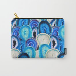 Sliced Geode Specimens in Blue Mermaid Rainbow Carry-All Pouch