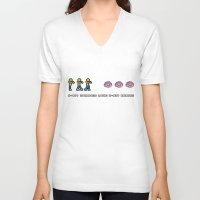 8 bit V-neck T-shirts featuring 8-BIT ZOMBES LOVE 8-BIT BRAINS by Lewys Williams