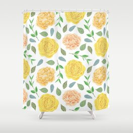 Hand painted yellow coral watercolor modern floral Shower Curtain