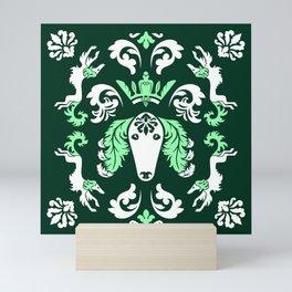 The Spirit of Saluki Damask (Green) Mini Art Print