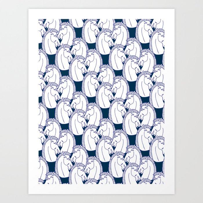 Deco Horses on Navy Art Print