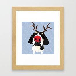 Ruldolph the Red Nose Dog Framed Art Print