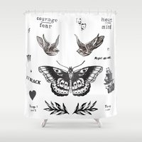 harry Shower Curtains featuring Tattoo à la Harry by Kate & Co.
