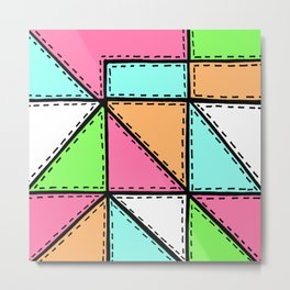 Marker Patchwork – Triangles and Rectangles – Pink Aqua Green Metal Print