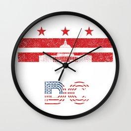 Vintage Washington Dc Capitol Hill Usa Flag Gift Wall Clock