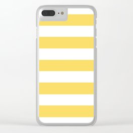 Naples yellow - solid color - white stripes pattern Clear iPhone Case