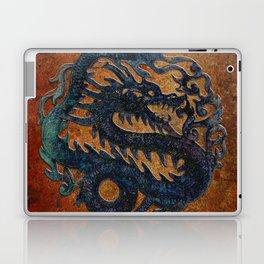 Blue Chinese Dragon on Stone Background Laptop & iPad Skin
