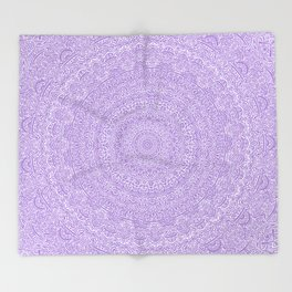 The Most Detailed Intricate Mandala (Violet Purple) Maze Zentangle Hand Drawn Popular Trending Throw Blanket