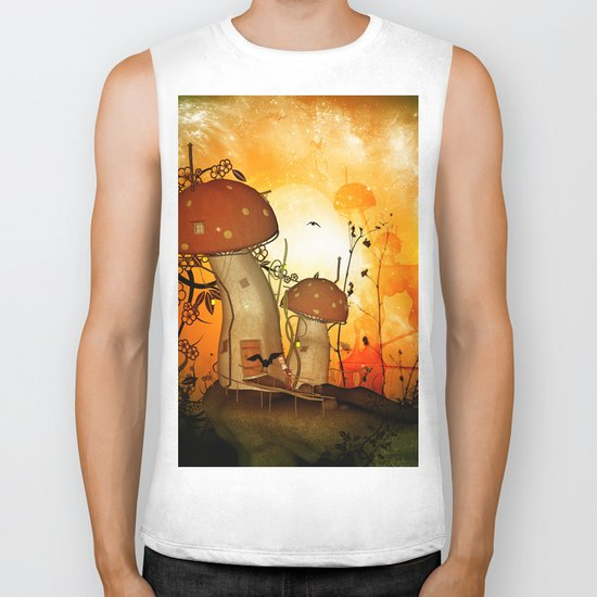 The fairy house in the night Biker Tank