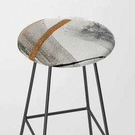 Armor [7]: a bold minimal abstract mixed media piece in gold, black and white Bar Stool