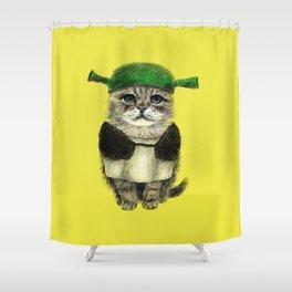 Shreky Cat Shower Curtain