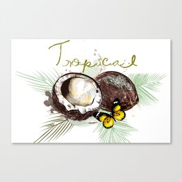 Tropical print with coconut Canvas Print