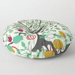 Fairy seamless pattern garden with plants, tree and flowers Floor Pillow