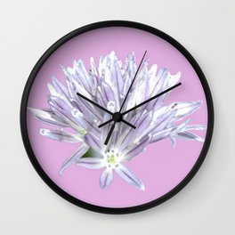 Flower | Pink Chive Floral | Nadia Bonello Wall Clock