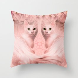 """Pink Pastel Doppelganger Cats at the Garden"" Throw Pillow"