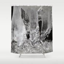 Watercolor Ice 23, Icicles in Black & White Shower Curtain