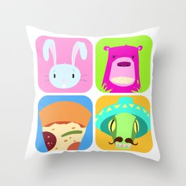 Floating BunnyHead Pop Square Throw Pillow