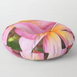 Tropical Hawaiian Plumerias Popping in Pink Floor Pillow