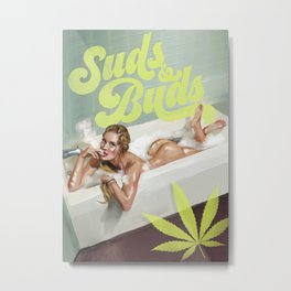 """Suds & Buds"" Pinup Girl In The Bath Having A Smoke Metal Print"