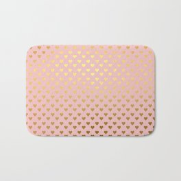 Gold and pink sparkling and shiny Hearts pattern Bath Mat
