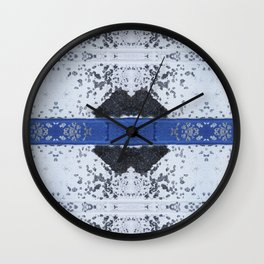 Blue and White Crumbling Wall Clock